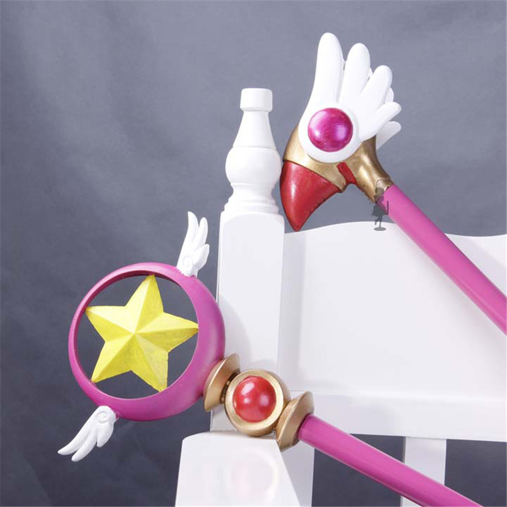 Anime Cardcaptor Sakura Kinomoto Sakura Cosplay Bird Head/star Magic Stick Wand Staves Accessorie Prop Buy One Give One Costume Props