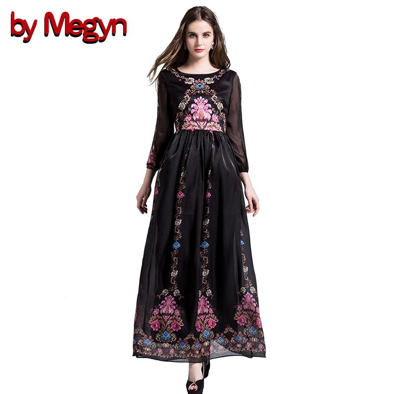 by Megyn retro maxi dress plus size 3XL women elegant high waist print crystal Beading long