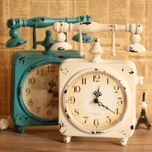 Zakka fashion watch iron fashion vintage rustic desk clock decoration clock props