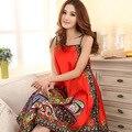 Red Silk Satin Nightgowns Lace Halter Sexy Lingerie Women Sleepwear Night wear Print Floral Slip Nightdress Night Sleeping Dress