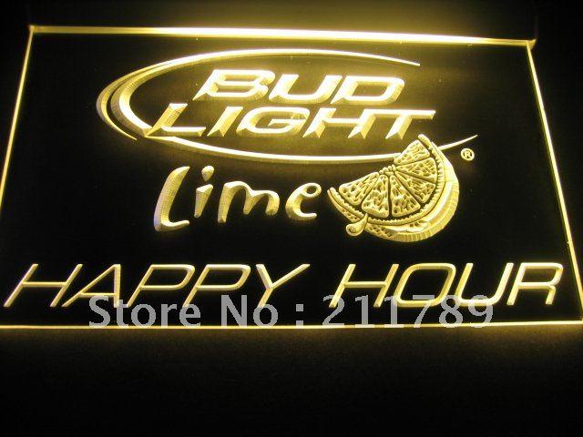 W0518 Bud Light Lime Happy Hour Bar Neon Light Sign