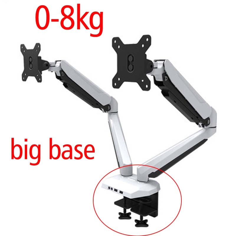 D-mount 27 full motion air press gas strut double lcd tv mount dual screen 360 rotate 2 monitor desktop support holder bracket