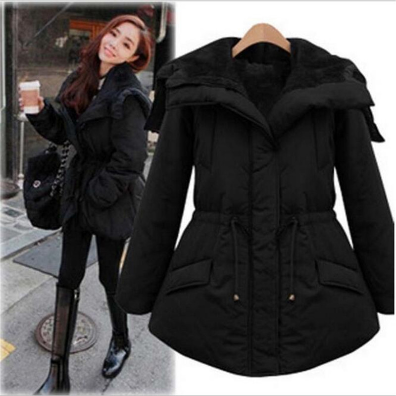 2016 New Women Winter Black Jacket Coats Thick Parkas Plus Size4XL Collar Hooded Outwear Hot Sale Warm Coat  A2473 geckoistail 2017 new fashional women jacket thick hooded outwear medium long style warm winter coat women plus size parkas