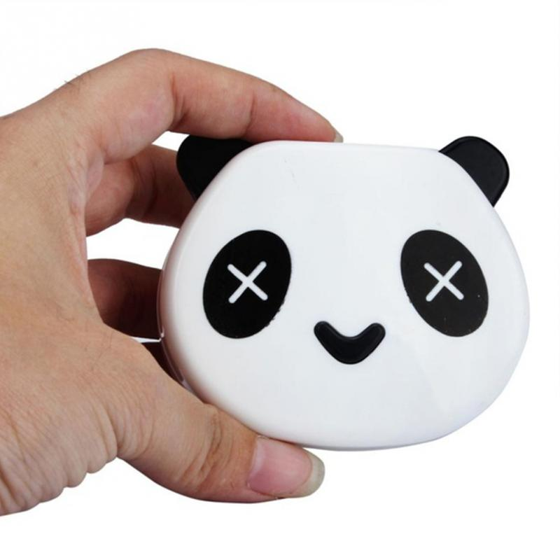 Eyewear Accessories Symbol Of The Brand Lymouko Hot Sale Cute White Color Panda Holder Contact Lens Case With Mirror Portable Contact Lenses Box For Gift