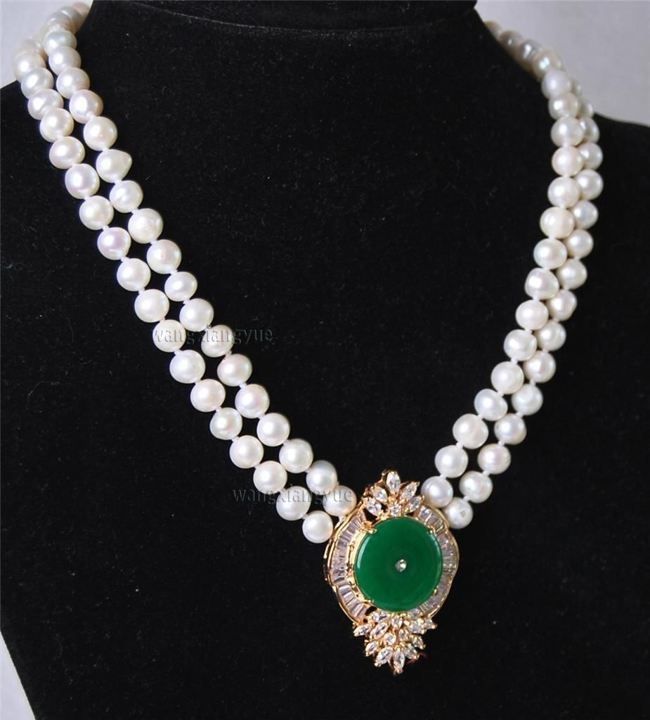 natural beads Beautiful 2Rows White Pearl Green gem Pendant Necklace GP wholesale women's jewelry