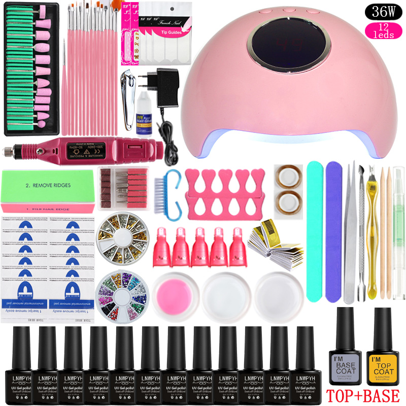 36w/48w/72w Led Uv Nail Lamp Choose 12 Color Gel Nail Polish Varnish Acrylic Kit Electric Nail Drill Machine for Manicure Set-in Sets & Kits from Beauty & Health    3