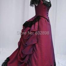 Бургундия викторианская Суета платье Викторианский период с короткими рукавами бальное платье