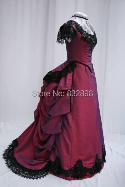 Burgundy Victorian Bustle Dress Victorian Period Short Sleeves Ball Gown Dress