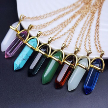 Women's Stone Pendants Necklaces Fashion Natural Stone Bullet Pink Crystal Choker Gold Quartz Necklace For Women Jewelry