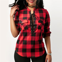 Plus Size S 5XL Red Plaid Ladies Womens Tops And Blouses 2018 Spring Summer Office Blouse