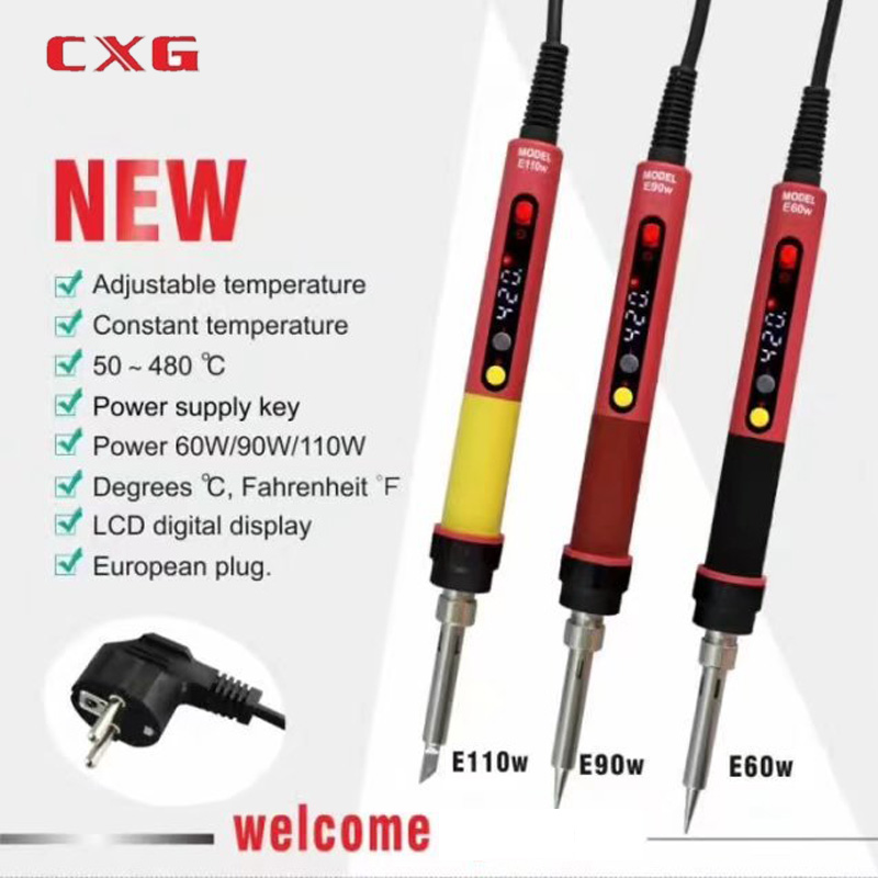 2019 NEW High Quality ROHS CXG E60wT/90wT/110wT LCD Temperature Digital LED Adjustable Electric Soldering Iron EU Plug