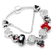 Animal Mickey Charm Bracelets & Bangles Women Jewelry Minnie Pink Bow-Knot Pendant Brand Bracelet DIY Handmade for Girl Gift