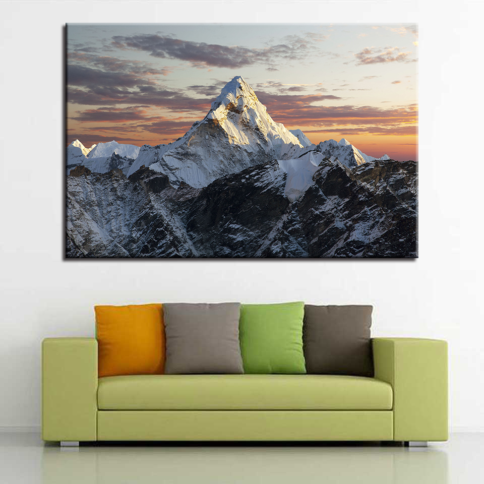 1 Piece Snow Mountains Pictures Living Room Wall Art Framework Canvas Paintings Home Decor HD Prints Sunset Landscape Poster in Painting Calligraphy from Home Garden
