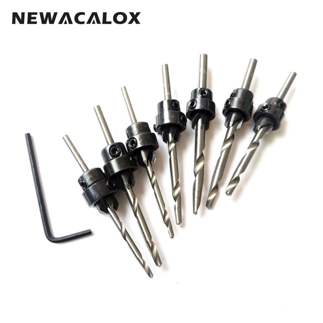 7PC Wood Countersink Drill Bit Set Woodworking Electric Carving Tools Boring Counterbore Chamfer Bore Hole Cutter Mill Cutter