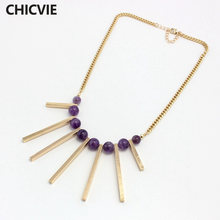 Chicvie классическое ожерелье из фиолетового натурального камня