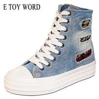 Denim High Platform For Canvas Shoes Higher For Women In Canvas Shoes Sponge Bottom Han Edition