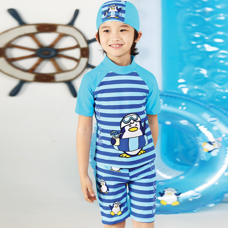 boys swimwear Cartoon Korean cute cartoon boy boxer swimsuit sets of suits  swimming cap-in Clothing Sets from Mother   Kids on Aliexpress.com  33cb871eff32