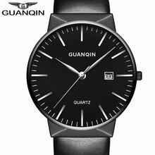 2017 GUANQIN Men Watches Brand Luxury Fashion Ultra Thin Leather Strap Quartz Watch Simple Men Wristwatch Relogio Masculino