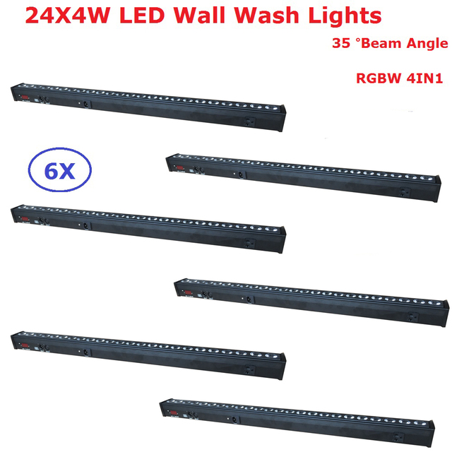 Free Shipping 6Pcs/Lot 24X4W RGBW Quad Color LED Wall Washer Light Indoor DMX Wash Bar LED Stage Lighting 35 Degree Beam Angle