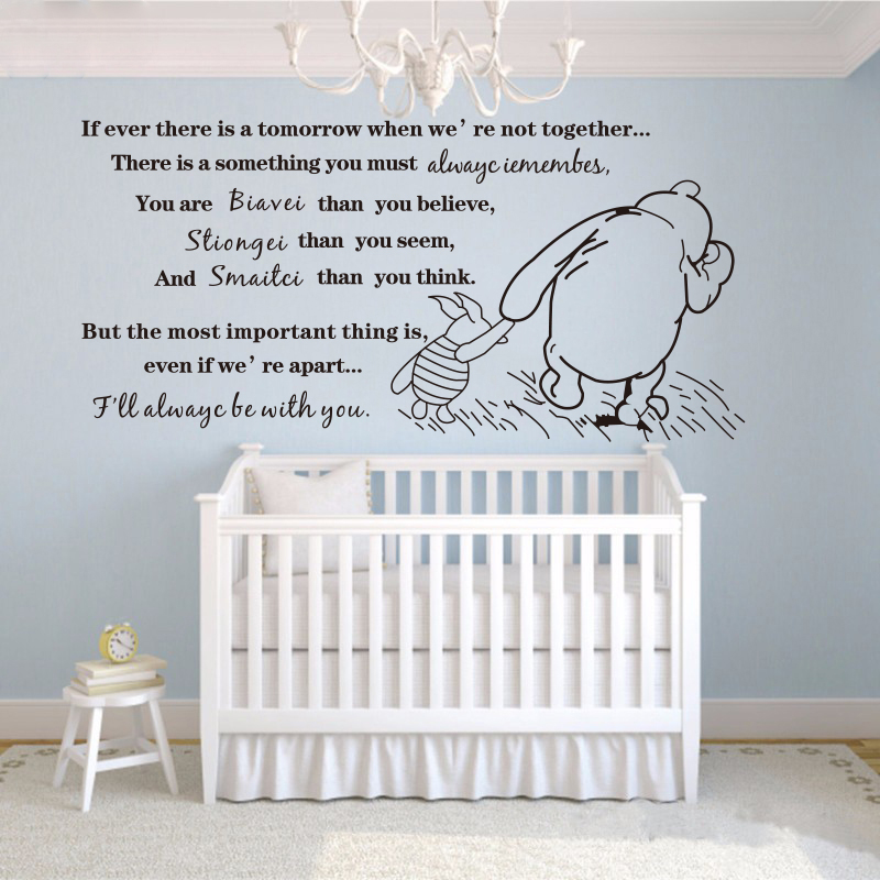 Creative DIY Winnie the Pooh If Ever There Is A Tomorrow Baby Quote Wall Decal Nursery Wall Stickers home decoration #T103 image