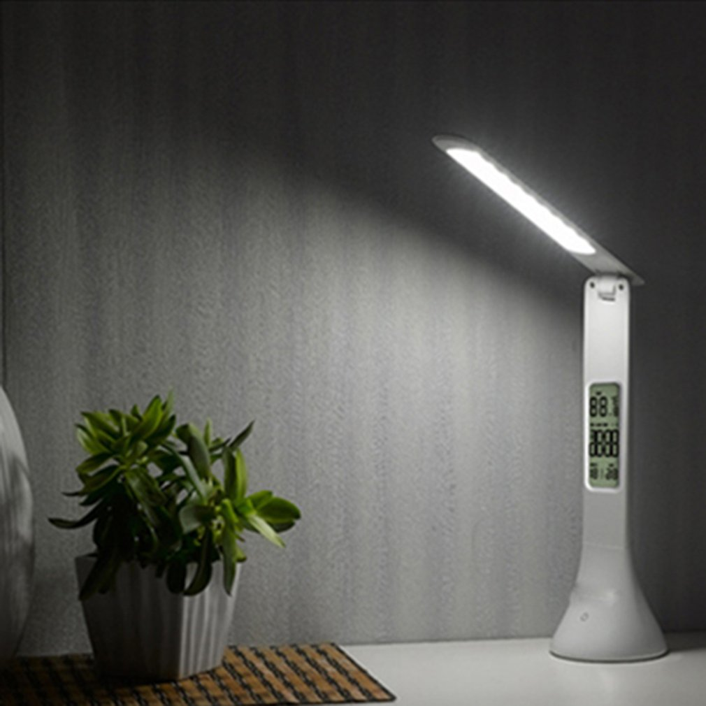 Foldable Touch Desk Lamp 3-level Dimmable Eye-Care LED Reading Light Table Lamp with Digital Calendar 2018 New led student desk lamp 3 stage dimmable with touch switch brush pot design foldable and adjustable table lamp arm design