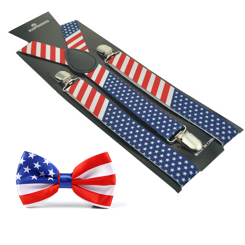 2020 New Women Men Unisex 4 Patterns Mix Suspender And Bow Tie Set Y-Shape American Flag Office Casual Bowtie Set Hot Sale