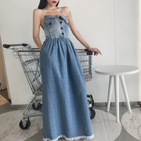 Free Shipping 2018 New Fashion Denim Dresses Women Long Maxi S L One piece Sleeveless Strapless Tassels Summer Jeans Dresses