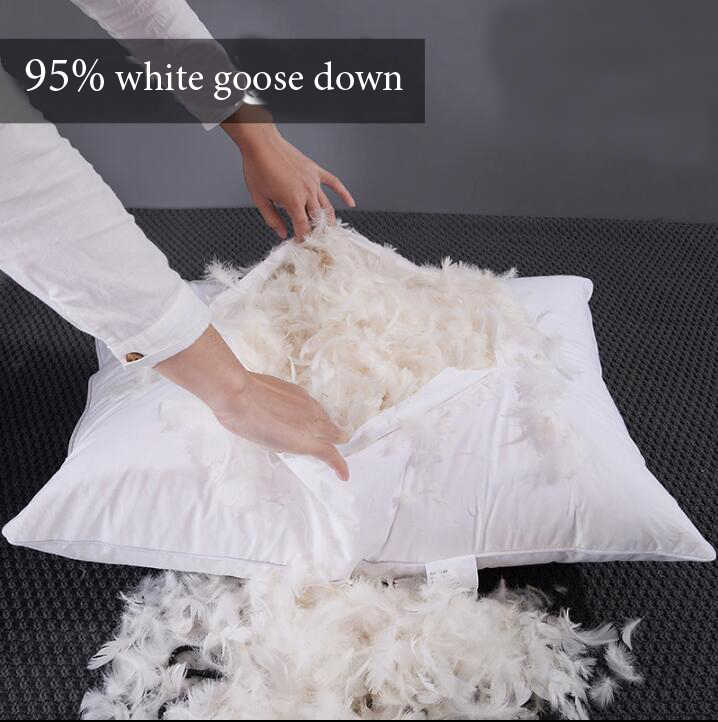 Top Grade 40s 100% Cotton cover 95% Goose White Down Bread Hotel Pillow Cushion