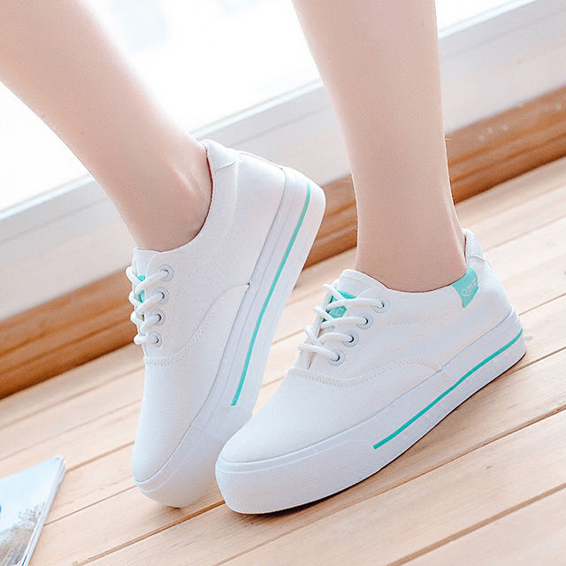 2016 Осень Корейских Холст Обувь Женщины Зашнуровать Белый Туфли На Платформе Плоские Случайные Sapato Feminino Мода Zapatos Mujer Chaussures