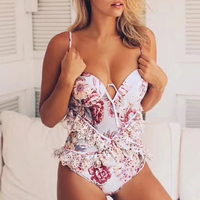 Female Summer Bodysuit 2018 New Sexy Women Body Suit with Floral Print Swimsuit for Women Bathing Suit