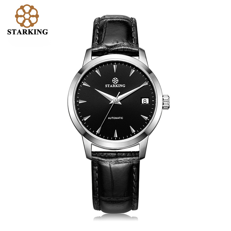 SATRKING Ladies Mechanical Automatic font b Watches b font 50m Water Resistant Calendar Leather Dress font