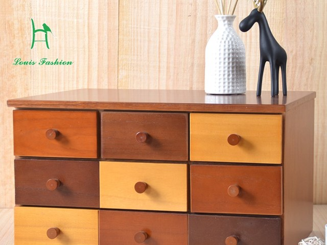 Simple Modern Solid Wood Multi Color Storage Box Drawer Cabinet Bedside  Cabinet Jewelry Box File Cabinet