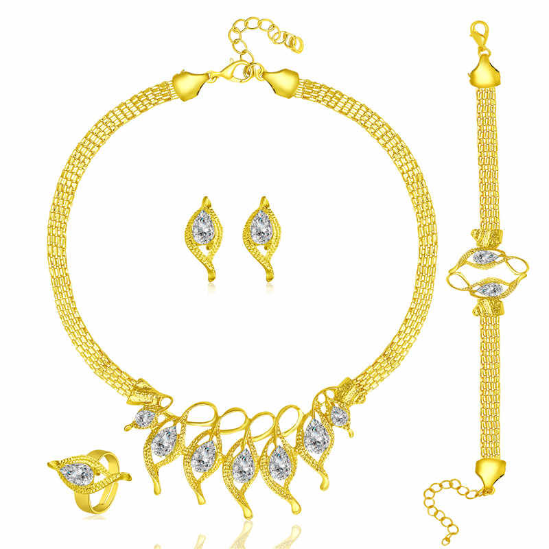Fashion Crystal Wedding Jewelry Sets for Women Wedding Luxury African Jewelry Set Vintage Nigerian Gold Color Jewellery