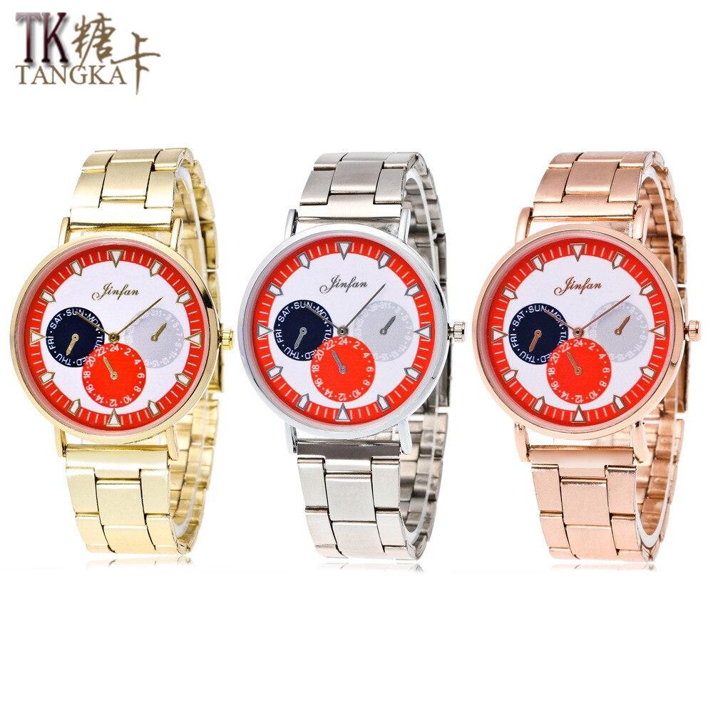 Fashion New Geneva Business Watches Women Men Uxury Rose Gold Stainless Steel Quartz Watch  Women