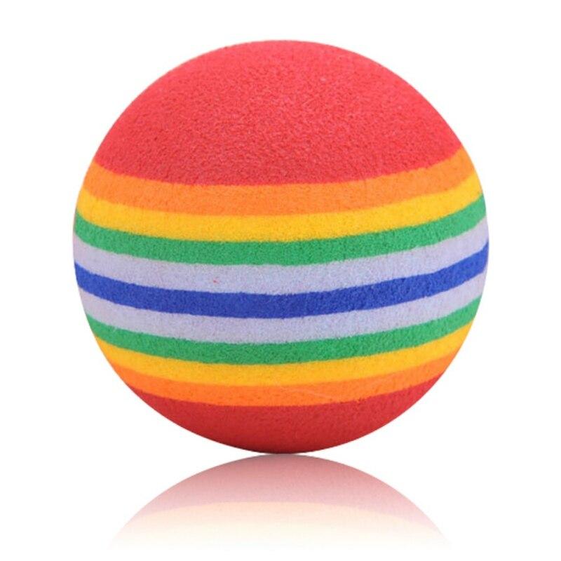 10pc/set Rainbow Ball Pet Happy Interactive Toy Ball Game Light Cat Toys