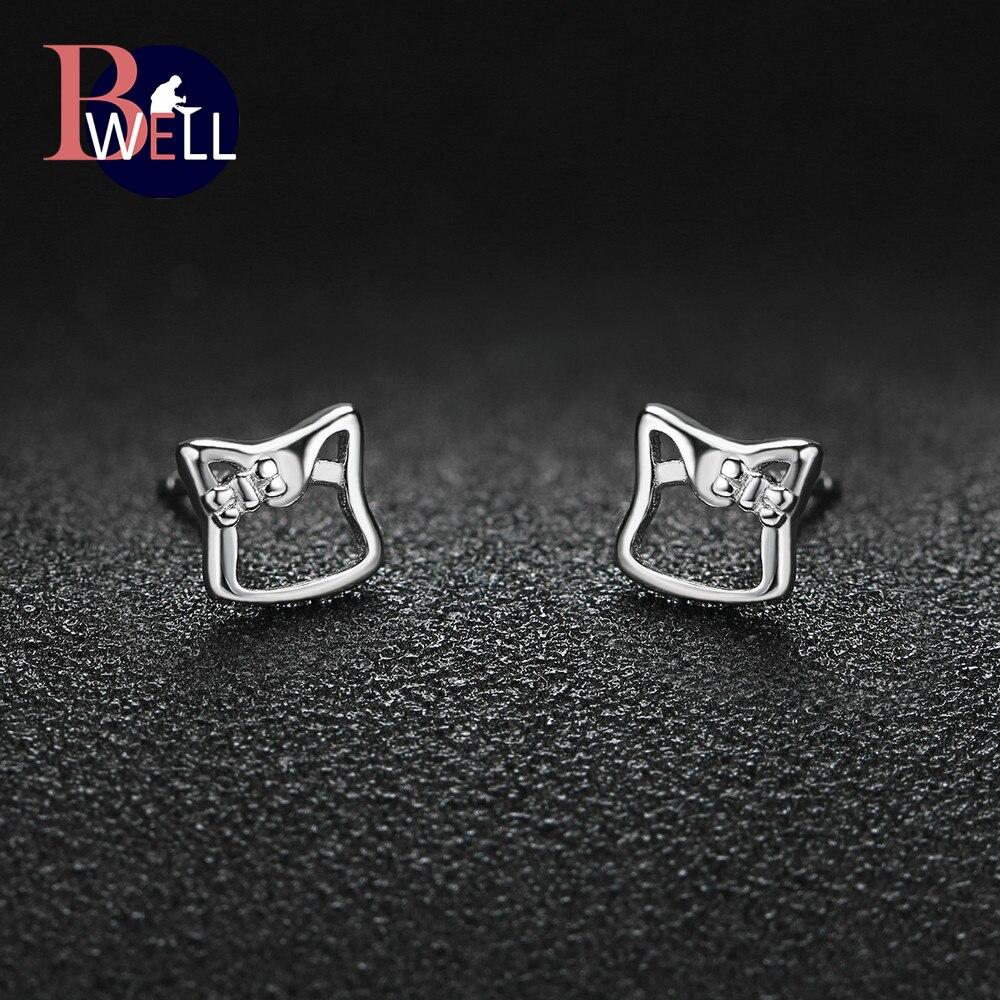 Bwell Romantic Earrings 100% 925 Sterling Silver A Cute Animal Raccoon Stud Earring  Jewelry For Women Anniversary BWEY231