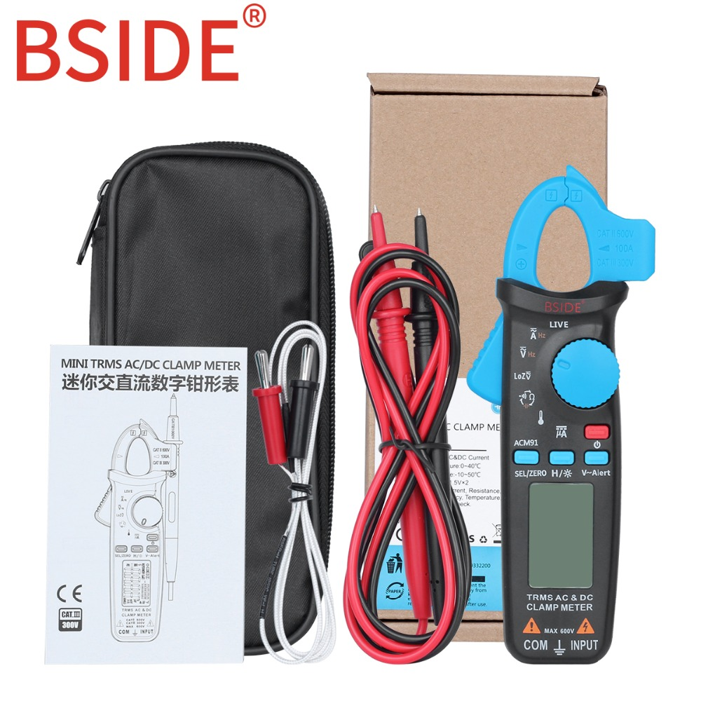 Bside ACM91 Automotive Clamp Meter TrueRMS 6000 Counts AC/DC Current 1mA Resolution Capacitance Temperature Tester with Clip