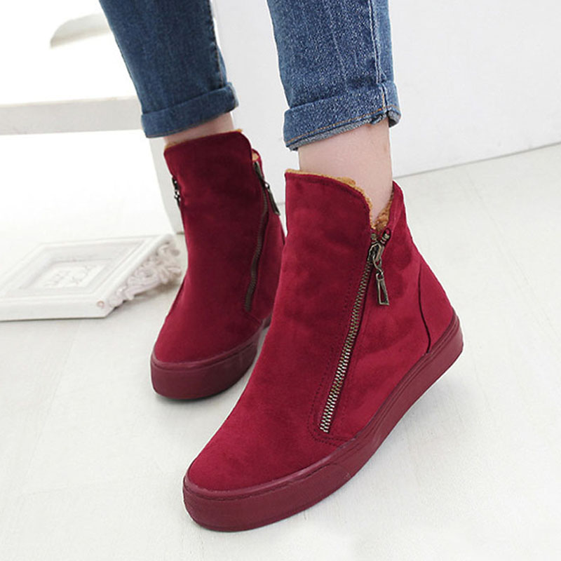 Image 3 - Fashion Winter Shoes Women Sneakers Boots Flock Warm Fur Snow Ankle Boots Women Double Zipper Antiskid Ladies Shoes Botas MujerAnkle Boots   -