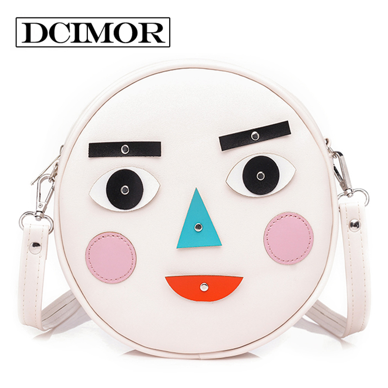 DCIMOR Variable face round bag young girl shoulder Cute cartoon women bags crossbody package Designer Beach Casual Sac Femme women designer shoulder bags ladies mini transparent jelly flap bag girls cute cartoon chains beach bag bolsos femininas