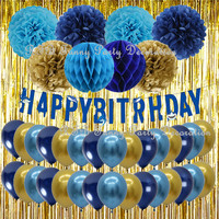 Baby Shark Birthday Party Decorations Banner Garland Chrome Metallic Gold Navy Blue Balloons for Boys Kids Happy Birthday Decor