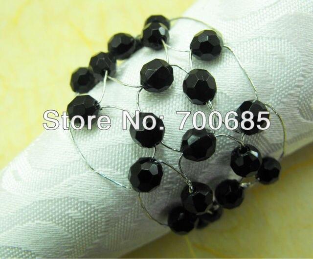 glass beades flower bulk napkin ring black acrylic diamond wedding