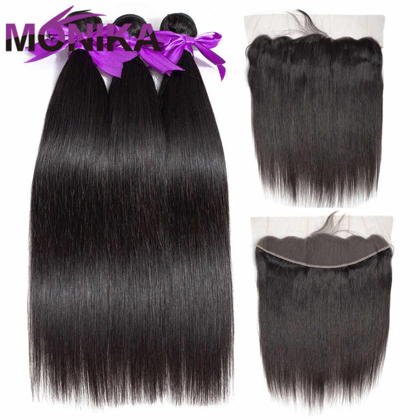 Monika Brazilian Bundles and Frontal Straight Frontal with Bundles Non Remy Human Hair 30 inch Bundles with Frontal and Bundles