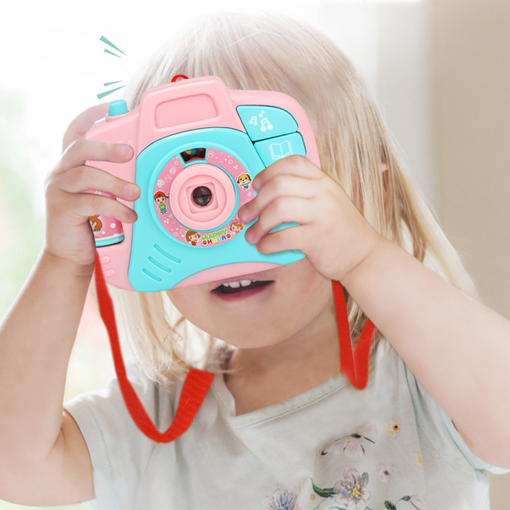 New Simulation Camera Toy Children Cartoon Projection Light Music Toy Early Education Puzzle Supplies 11.5*9*3.5cm Dropshiping