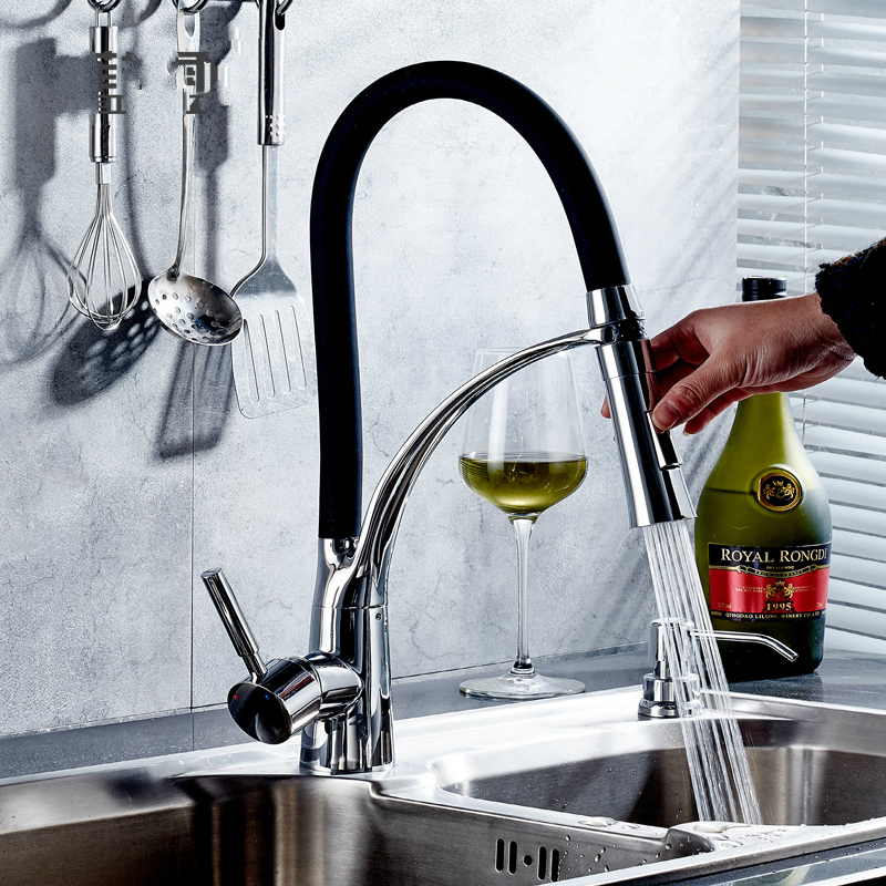 Modern Green/red Polished Chrome Cold And Hot Basin Faucet Stretching Black Silver Sitting Type Rotating Kitchen Tap/faucet eg8