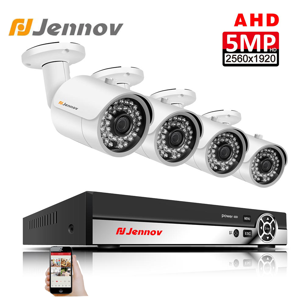 Jennov 5MP 4CH HD P2P IP Video Surveillance Set For CCTV Outdoor Security Camera System AHD Camera With DVR Metal Shell H.265Jennov 5MP 4CH HD P2P IP Video Surveillance Set For CCTV Outdoor Security Camera System AHD Camera With DVR Metal Shell H.265