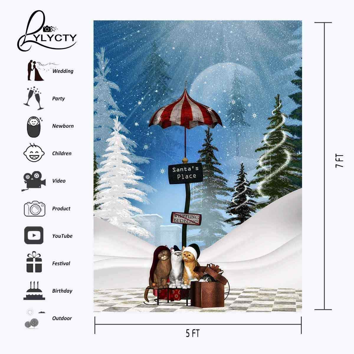 5x7ft мультфильм зима снег фон милые кошки падение снег фотография Фон Рождественская вечеринка фото видео съемки реквизит