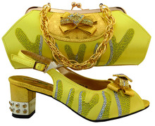2017 New Design Yellow African Shoes and Bags Italian Shoes and Bag Set Italian Style Shoes with Matching Bag MM1023
