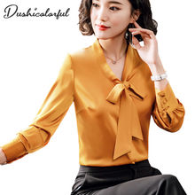 Dushicolorful bow tie blouse womens clothing long sleeve white chiffon OL ladies work wear shirt solid Gold formal tops