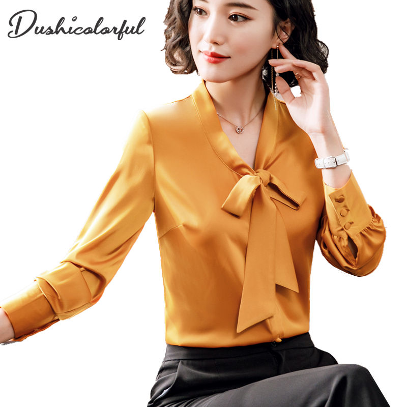 Dushicolorful bow tie blouse women's clothing long sleeve white chiffon blouse OL ladies work wear shirt solid Gold formal tops