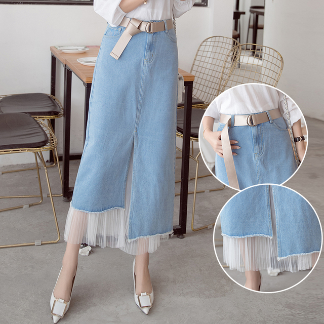 837337df58b 2XL Denim Tulle Skirt 2017 Elegant Women Slim Denim Skirt Simple Sexy Side  Split Slim Jeans
